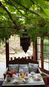 petit déjeuner sous la treille de la véranda